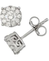 7d77b941a Macy's Diamond Stud Earrings (1-1/2 Ct. T.w.) In 14k White Gold - Lyst