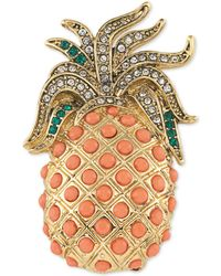 Carolee - Gold-tone Pavé & Peach Stone Pineapple Pin - Lyst