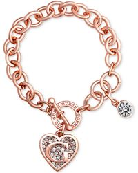 Guess - Rose Gold-tone Link Charm Bracelet - Lyst