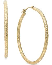 Macy's - Diamond-cut Hoop Earrings In 14k Gold, 1 1/3 Inch - Lyst