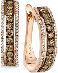 Le Vian - Chocolate And White Diamond Hoop Earrings In 14k Rose Gold (9/10 Ct. T.w.) - Lyst