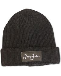 Sean John - Woven Label Double Roll Cuff Beanie, Created For Macy's - Lyst