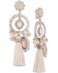 Marchesa - Gold-tone Stone, Pavé And Tassel Chandelier Earrings - Lyst