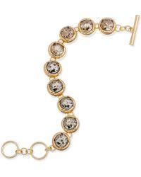 ABS By Allen Schwartz - Gold-tone Crystal Toggle Bracelet - Lyst