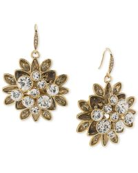 Carolee - Gold-tone Crystal Cluster Drop Earrings - Lyst
