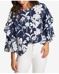 1.STATE - Printed Tiered-sleeve Top - Lyst