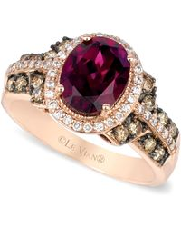 Le Vian - Raspberry Rhodolite Chocolate And White Diamond Oval Ring (2-3/4 Ct. T.w.) In 14k Rose Gold - Lyst