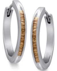 Macy's - Sterling Silver Earrings, Champagne Diamond Baguette Hoop Earrings (1/2 Ct. T.w.) - Lyst