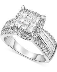 Macy's - Diamond Halo Engagement Ring In 14k White Gold (2 Ct. T.w.) - Lyst