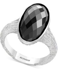 Effy Collection - Onyx (18 X 9mm) Oval Textured Statement Ring In Sterling Silver - Lyst