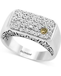 Effy Collection - Men's White Sapphire Cluster Ring (1-3/8 Ct. T.w.) In Sterling Silver & 18k Gold - Lyst