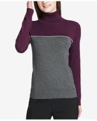 Calvin Klein - Color-blocked Turtleneck Sweater - Lyst