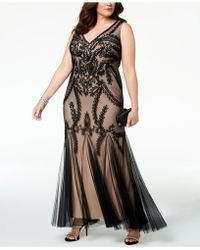 Betsy & Adam - Plus Size Soutache Godet Gown - Lyst
