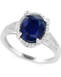 Effy Collection - Effy® Sapphire (2-7/8 Ct. T.w.) And Diamond (1/4 Ct. T.w.) Ring In 14k White Gold - Lyst