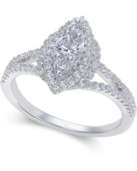 Macy's | Diamond Marquise Cluster Halo Ring (3/4 Ct. T.w.) In 14k White Gold | Lyst