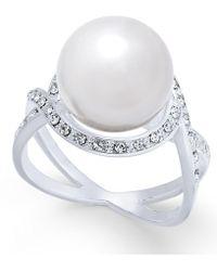 Charter Club - Silver-tone Pavé & Imitation Pearl Ring - Lyst