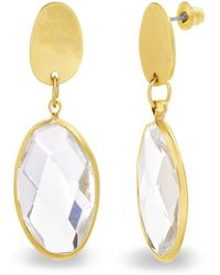 Catherine Malandrino - White Rhinestone Oval Shaped Yellow Gold-tone Drop Earrings - Lyst