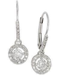 Macy's - Diamond Round Drop Earrings In 14k White Gold (1/2 Ct. T.w.) - Lyst