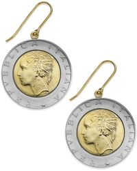 Macy's - Vermeil And Sterling Silver Lira Coin Drop Earrings - Lyst