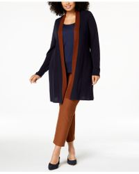 Eileen Fisher - ® Plus Size Long Colorblocked Cardigan - Lyst