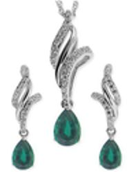 No Vendor - Emerald (3/4 Ct. T.w.) And White Topaz (3/8 Ct. T.w.) Jewelry Set In Sterling Silver - Lyst