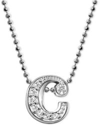 """Alex Woo - Diamond Accent Initial """"c"""" Pendant Necklace In 14k White Gold - Lyst"""