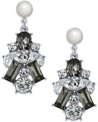 Charter Club - Silver-tone Clear & Jet Crystal With Imitation Pearl Drop Earrings - Lyst