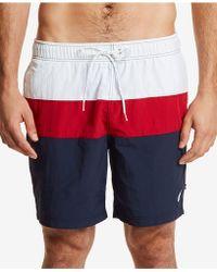 "Nautica - 9"" Colorblocked Drawstring Swim Shorts - Lyst"