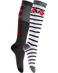 Disney - Women's 2-pk. Minnie Mouse Striped Knee-high Socks - Lyst