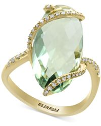 Effy Collection - Green Amethyst (7-1/4 Ct. T.w.) And Diamond (1/5 Ct. T.w.) Ring In 14k Gold - Lyst