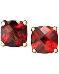 Macy's - 14k Gold Earrings, Garnet Cushion Studs (2-1/4 Ct. T.w.) - Lyst