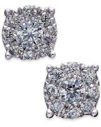 Macy's - Diamond Cluster Stud Earrings (1/2 Ct. T.w.) In 14k White Gold - Lyst