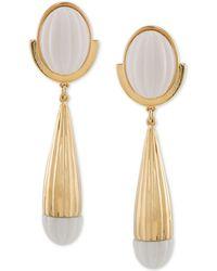 Trina Turk - Gold-tone & White Drop Earrings - Lyst