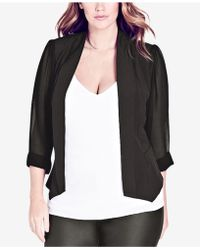 City Chic - Trendy Plus Size Chiffon-sleeve Blazer - Lyst