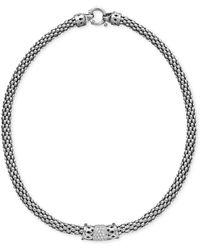 Macy's - Diamond Barrel Necklace In Sterling Silver (1/4 Ct. T.w.) - Lyst