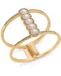 INC International Concepts - I.n.c. Rose Gold-tone Pavé & Imitation Pearl Open Hinged Cuff Bracelet, Created For Macy's - Lyst
