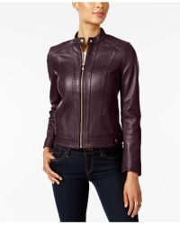 Cole Haan - Leather Moto Jacket - Lyst