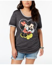 Disney - Plus Size Mickey & Minnie Mouse T-shirt - Lyst