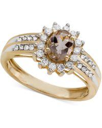 Macy's - Morganite (3/4 Ct. T.w.) & Diamond (1/3 Ct. T.w.) Ring In 14k Gold - Lyst