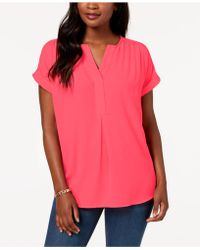 Charter Club - Cuffed-sleeve Split-neck Top, Created For Macy's - Lyst