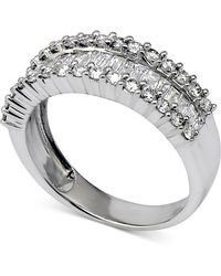Macy's - Diamond Baguette Cluster Band (1 Ct. T.w.) In 14k White Gold - Lyst