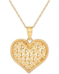 Macy's - Openwork Puff Heart Pendant Necklace In 10k Gold - Lyst