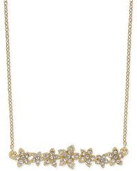 "INC International Concepts - I.n.c. International Concepts Crystal Cluster Flower Horizontal Bar Pendant Necklace, 16"" + 3"" Extender, Created For Macy's - Lyst"