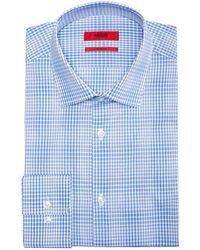 BOSS - Slim-fit Aqua Window Pane Dress Shirt - Lyst