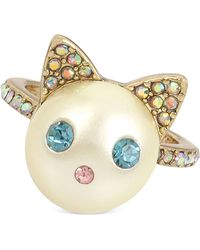Betsey Johnson - Gold-tone Colored Pavé & Imitation Pearl Cat Ring - Lyst
