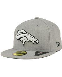 finest selection da6d0 325e3 KTZ - Denver Broncos Heather Black White 59fifty Cap - Lyst