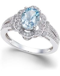 Macy's - Aquamarine (9/10 Ct. T.w.) And Diamond (1/3 Ct. T.w.) Ring In 14k White Gold - Lyst
