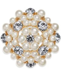 Charter Club - Gold-tone Crystal & Imitation Pearl Flower Pin, Created For Macy's - Lyst