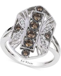 Le Vian - White And Chocolate Diamond (1/2 Ct. T.w.) Deco Ring In 14k White Gold - Lyst