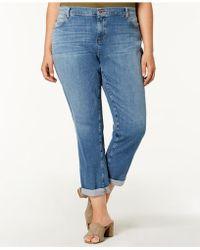 Eileen Fisher - Plus Size Organic Cuffed Boyfriend Jeans - Lyst